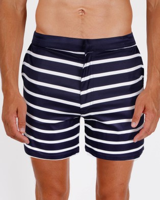 Mosmann – Navy Stripe Swim Shorts – Swimwear (Navy Blue)