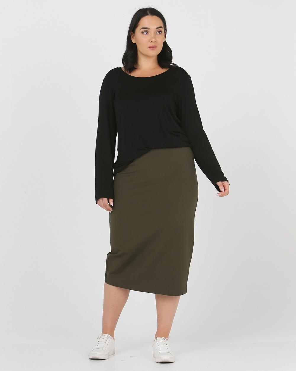 Advocado Plus Essentail Pencil Skirt Pants Olive