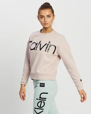 Calvin Klein Performance Jumbo Calvin Logo Drop Shoulder Crewneck Pullover - Crew Necks (Secret)