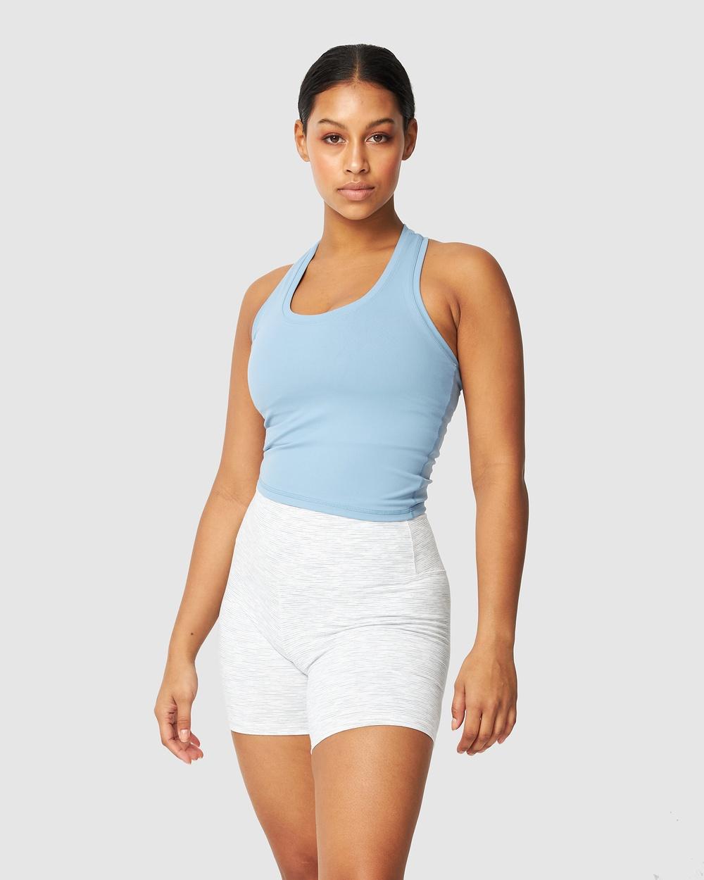 Muscle Republic Luxe Midriff Tank T-Shirts & Singlets Blue Mist Australia