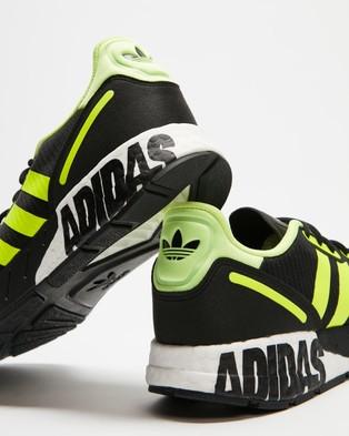 adidas Originals - ZX 1K Boost Sneakers   Men's - Lifestyle Sneakers (Core Black, Solar Yellow & Matte Silver) ZX 1K Boost Sneakers - Men's
