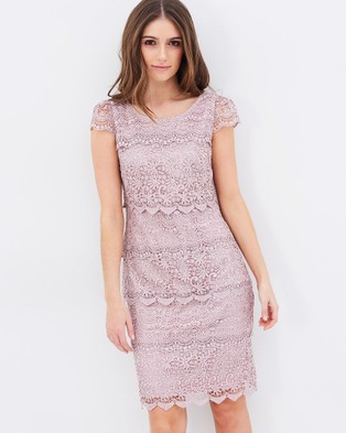 Review – Santana Cap Sleeves Lace Dress – Dresses (Platinum Pink)