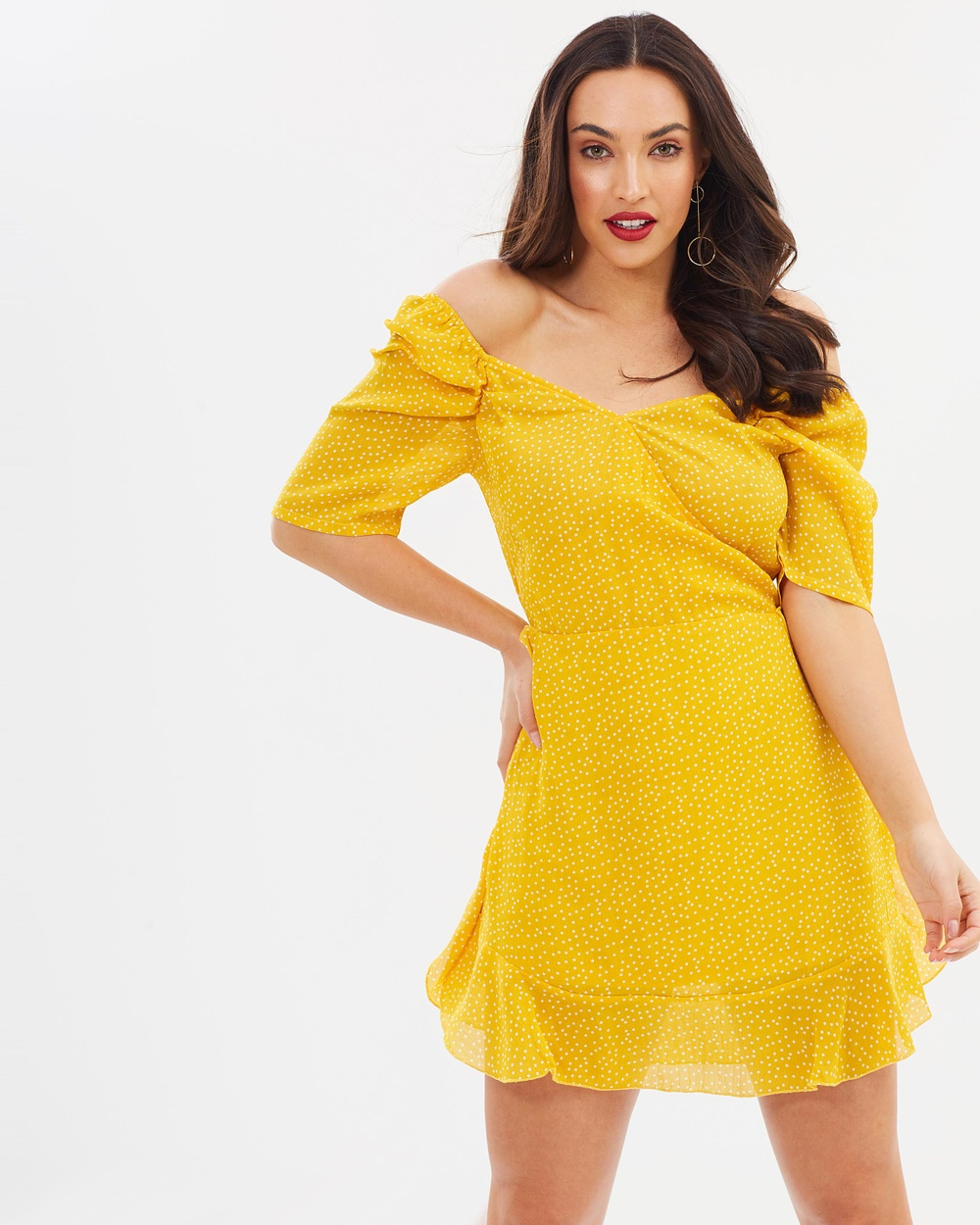 Missguided Chiffon Polka Dot Off The Shoulder Mini Dress Dresses Yellow Chiffon Polka Dot Off The Shoulder Mini Dress