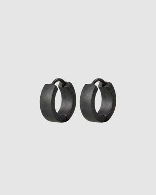 Australia Kuzzoi - Earrings Black Hoops 925 Sterling Silver Jewellery (Silver)