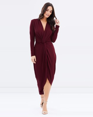 3rd Love – Angelic Knotted Midi Dress – Dresses (Burgundy)