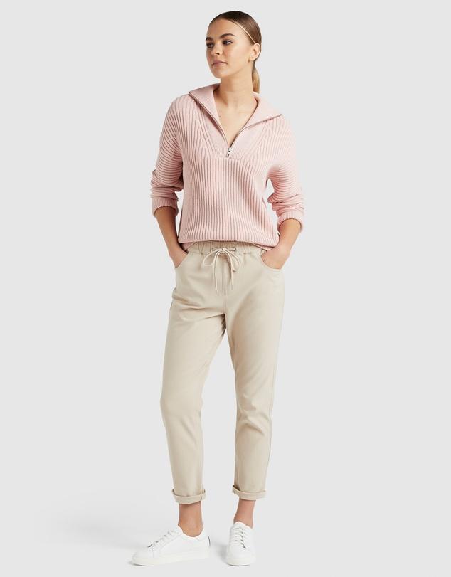 Women Cotton Half Zip Knit