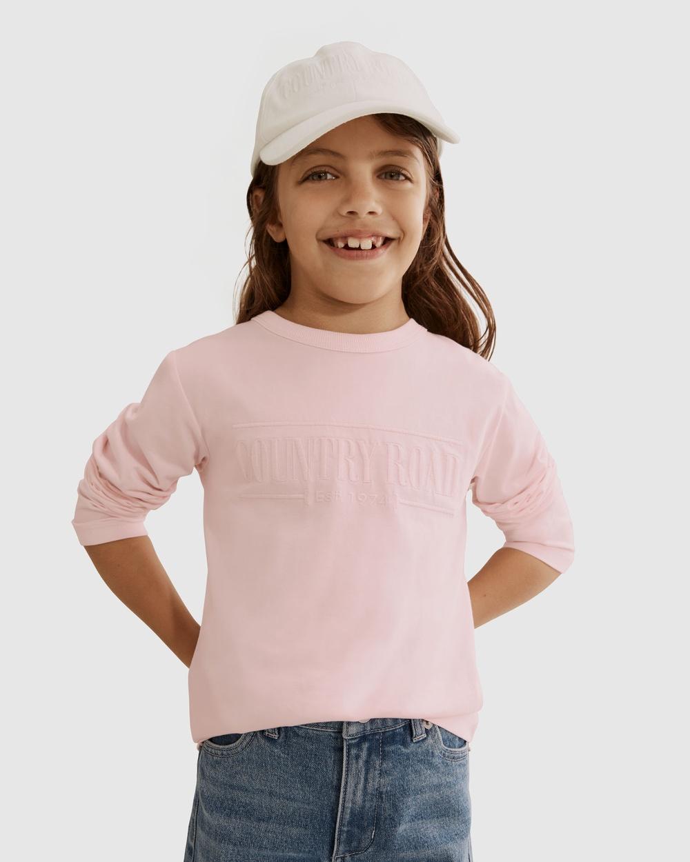 Country Road Verified Australian Cotton Long Sleeve Heritage T shirt T-Shirts & Singlets pink T-shirt Australia