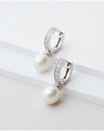 Michael Hill - Drop Earrings with Cultured Freshwater Pearl and Cubic Zirconia