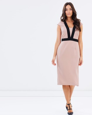 Dorothy Perkins – Contrast Tipped Belted Pencil Dress – Dresses (Blush)