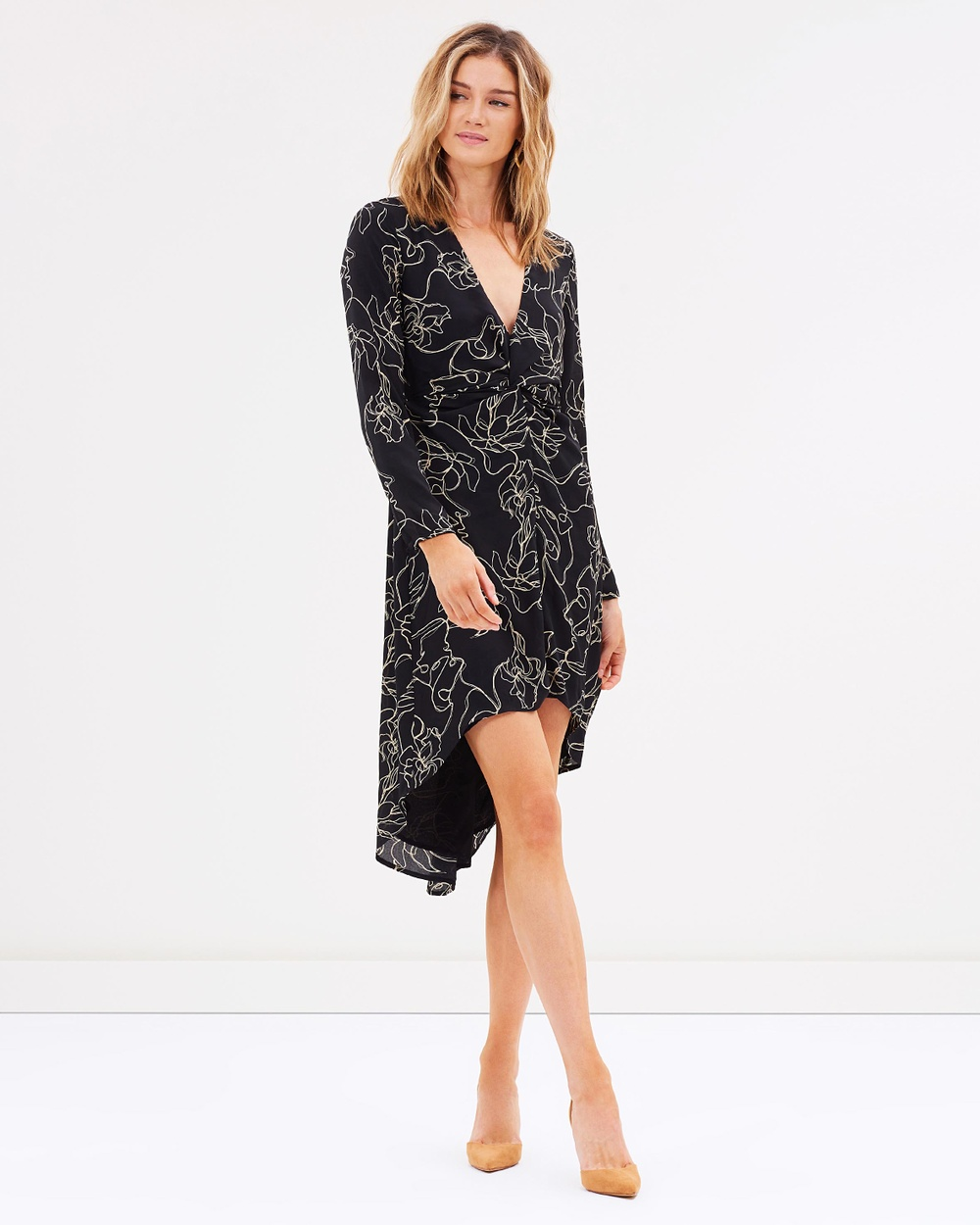 Atmos & Here ICONIC EXCLUSIVE Charlotte Knot Midi Dress Printed Dresses In Two Minds Print ICONIC EXCLUSIVE Charlotte Knot Midi Dress