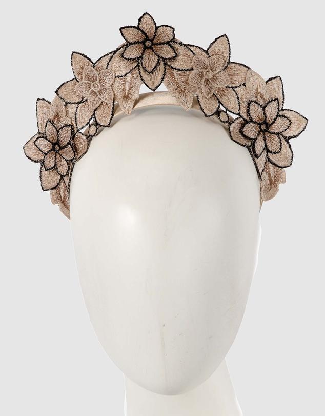 Women Flower Lace Crown Fascinator