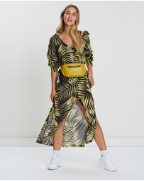 Double Rainbouu - Tiger Palm Maxi Shirt Dress