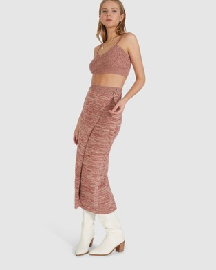 Chosen By Tuchuzy Dina Knit Crop Top Cropped tops (MOTTLED MAROON)