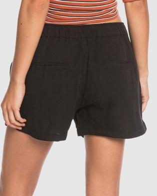 Roxy Womens Lekeitio Playa Linen Shorts - Chino Shorts (Anthracite)