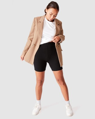 Cotton On The Beverly Rib Bike Shorts - High-Waisted (Black)