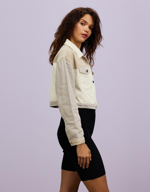 Women Neutral Patched Cropped Jacket