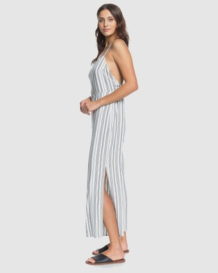 Roxy Womens Feeling Catcher Striped Wide Leg Jumpsuit - Sleeveless (ANTHRACITE BEACH STR)