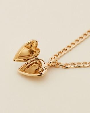 Orelia London Heart Locket Necklace - Jewellery (Pale Gold)