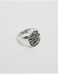 Icon Brand - Round Metal Signet Ring with Embossed Symbols