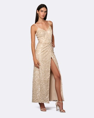 ROXCIIS – Yun Nude Sequin Gown with Split Nude