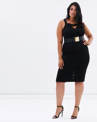 Lost Ink Plus – Bar Front Pencil Dress with Belt – Dresses (Black)