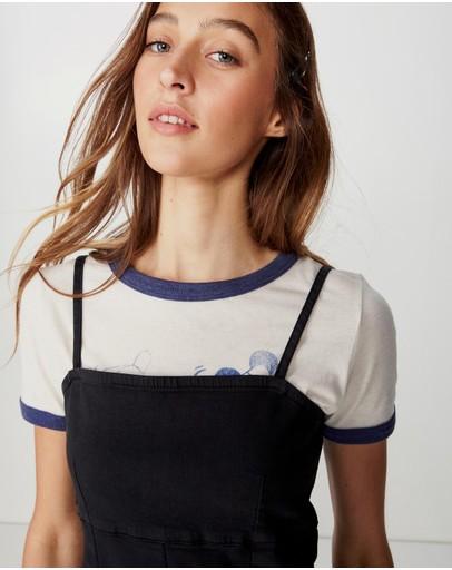 Cotton On Stretch Denim Mini Pinafore Dress Black