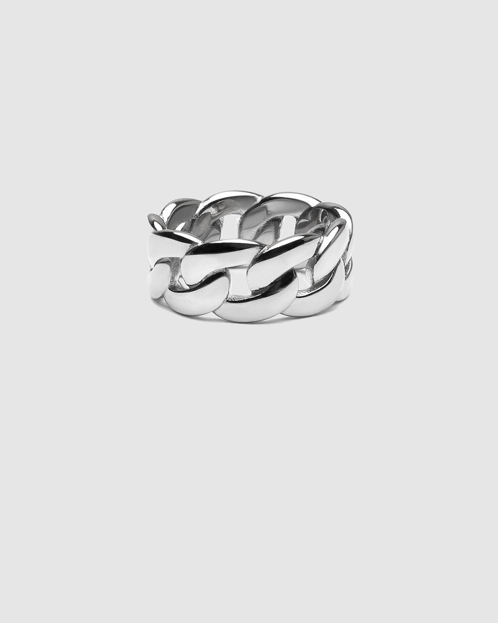 Nialaya Jewellery Men's Chain Ring Silver