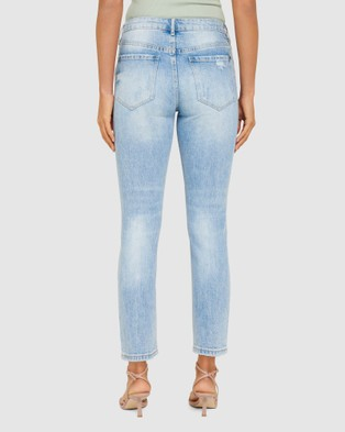 Forever New Isabel Mid Rise Straight Crop Jean - Jeans (Connecticut Blue Distress)