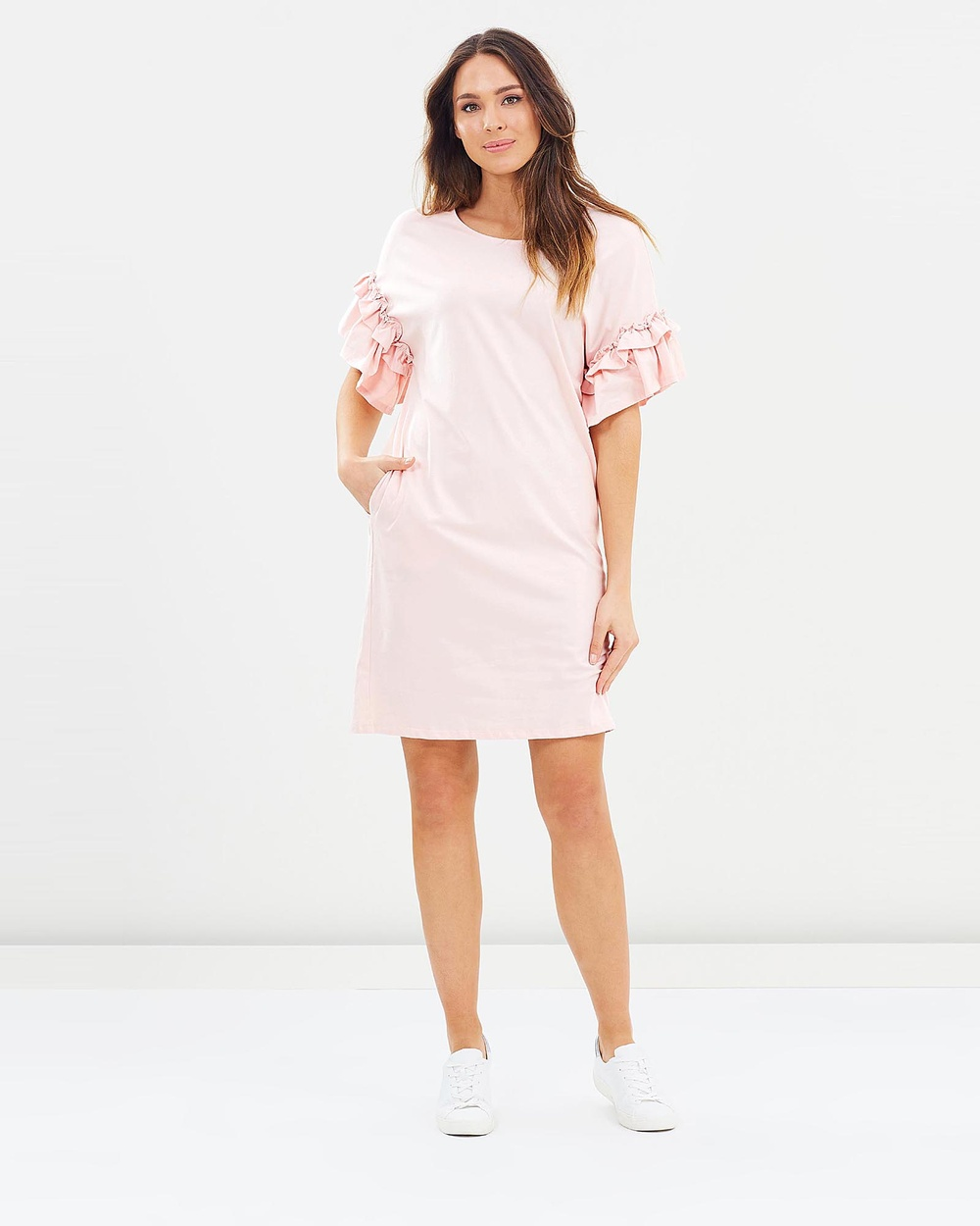 Lincoln St The Frill Cuff Dress Dresses Smoke Pink The Frill Cuff Dress