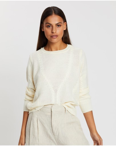 Only Jemma Ls Cable Pullover Knit Cloud Dancer