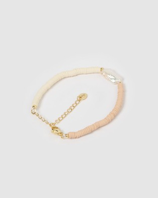 Miz Casa and Co Moana Bracelet Pearl Blush Jewellery Gold
