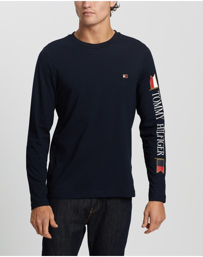 Tommy Hilfiger - Mirrored Flags Long Sleeve Tee