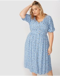 Cotton On Curve - Woven Chloe Puff Sleeve Midi Dress