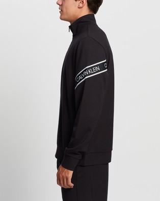 Calvin Klein Performance - Active Icon Two Tone Elastic Band 1 4 Zip Pullover Sweats (CK Black) 1-4