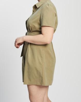 Missguided Curve SS Belted Shirt Dress - Dresses (Khaki)
