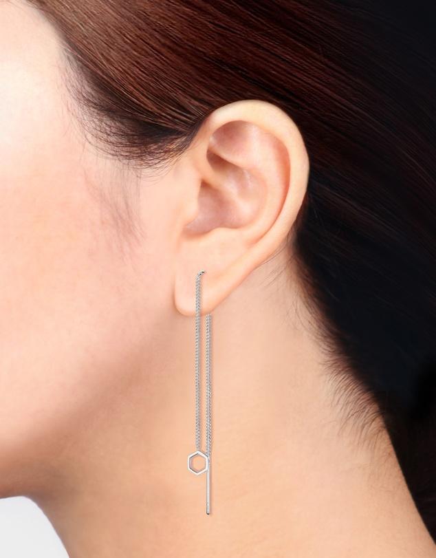 Women Earrings Hexagon Geo Minimalist 925 Sterling Silver
