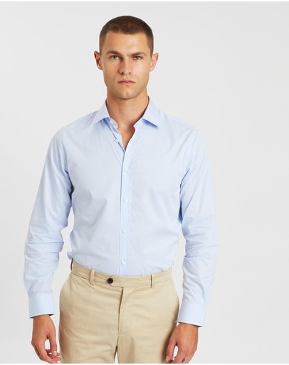 Gieves And Hawkes Cotton Formal Fitted Shirt Blue