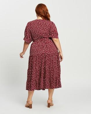 Atmos&Here Curvy Carly Midi Dress - Printed Dresses (Burgundy Print)