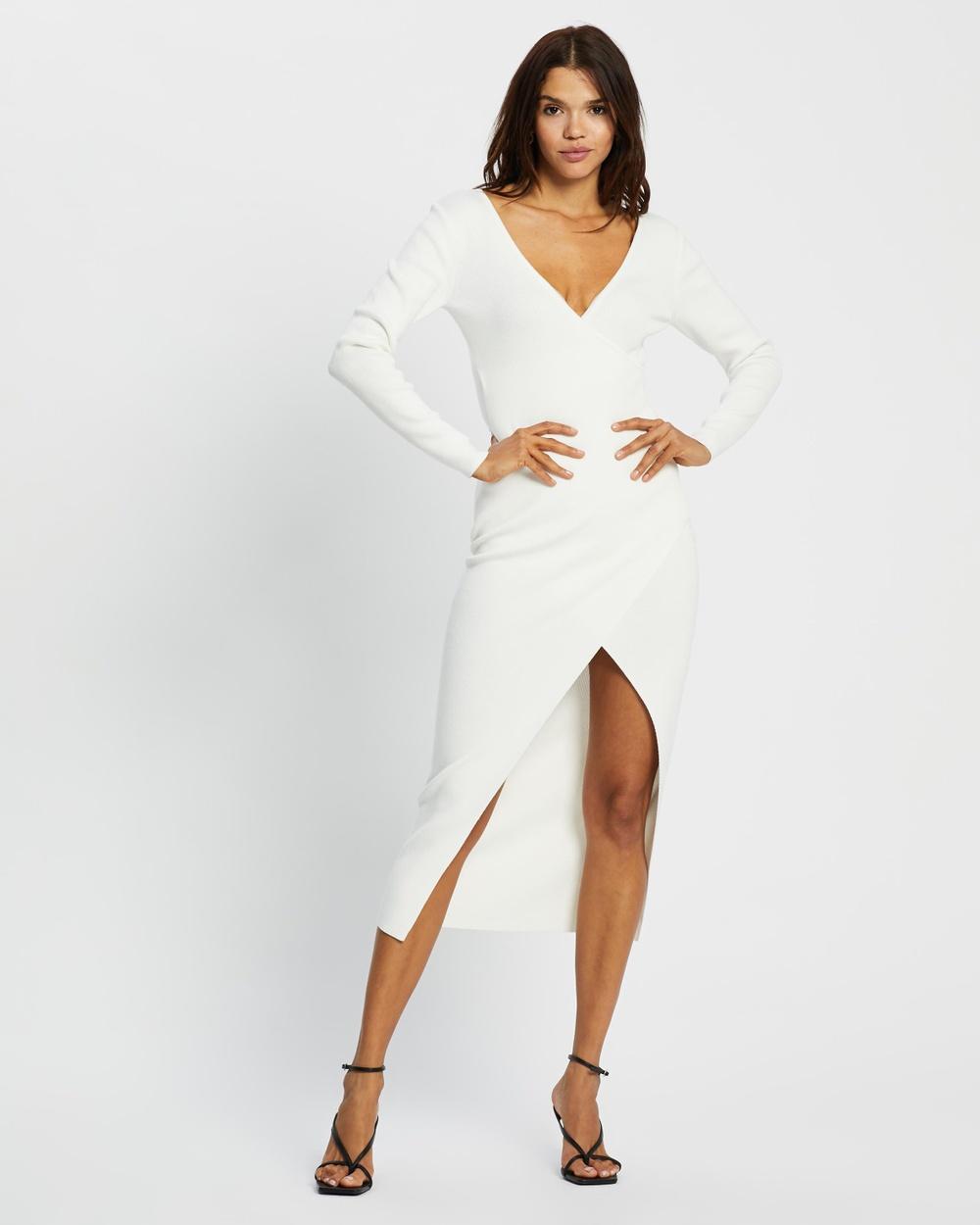 AERE Split Front Dress Clothing Ivory