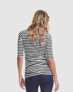 Soon Maternity - Honor 3 4 Sleeve Feeding Top - Long Sleeve T-Shirts (BLACKST) Honor 3-4 Sleeve Feeding Top