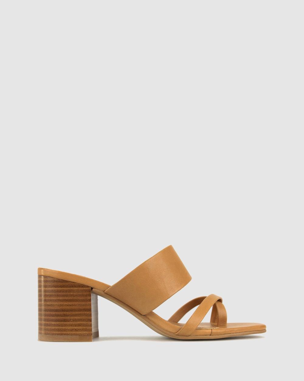 Betts Casa Block Heel Mules Sandals Tan Australia