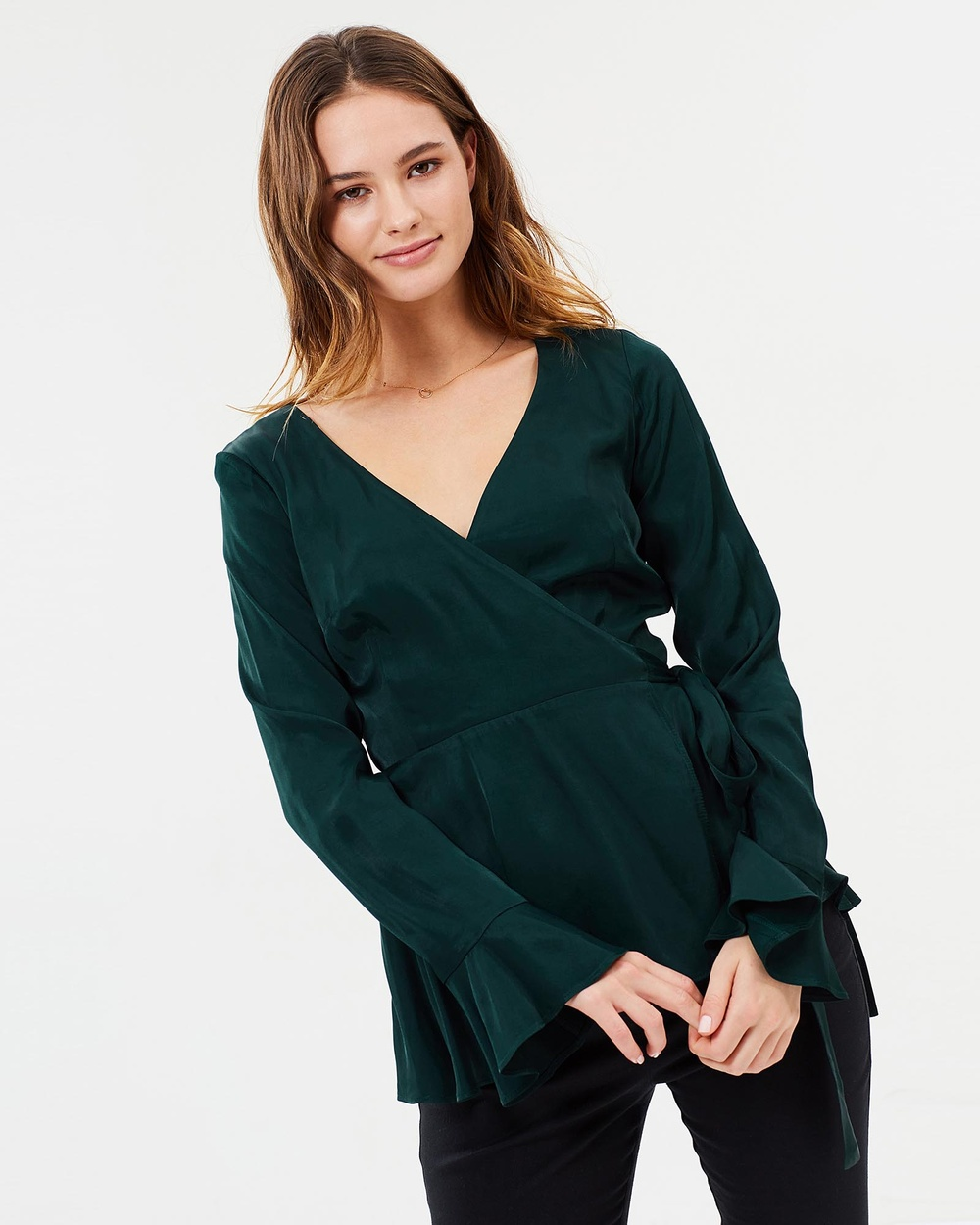 Jillian Boustred Arrabella Wrap Top Tops Emerald Green Arrabella Wrap Top