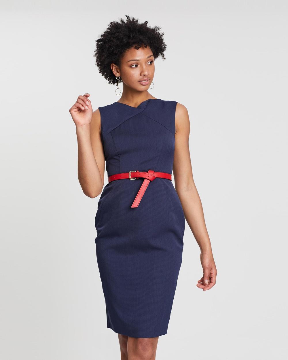Dorothy Perkins Navy Blue Textured Folded Neck Pencil Dress