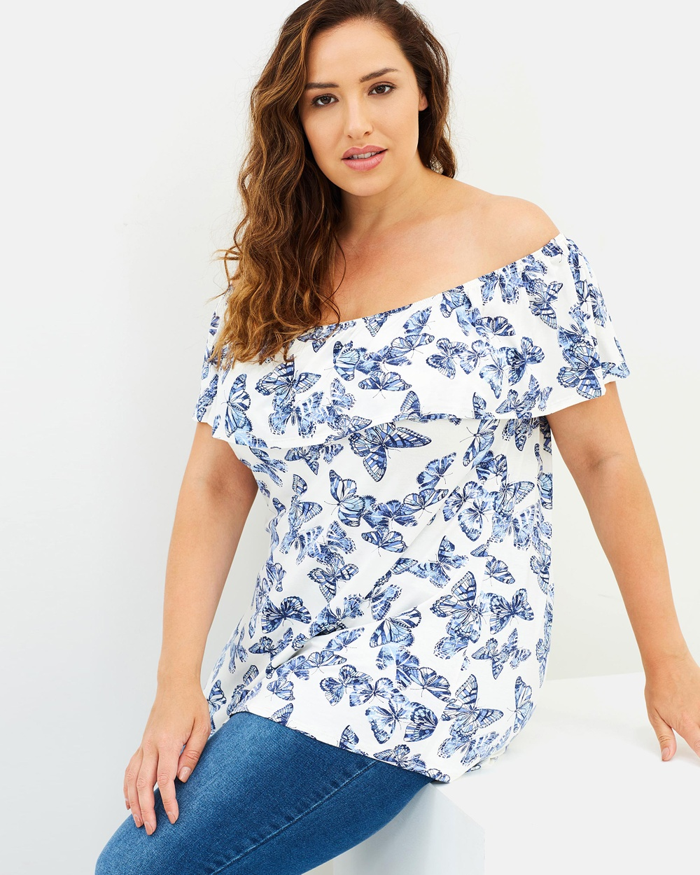 EVANS Bardot Frill Top Tops White Bardot Frill Top