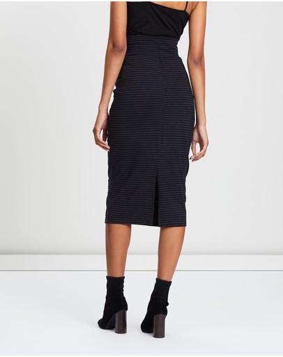 Angel Maternity Midi Straight Cut Skirt Black & Grey Stripes