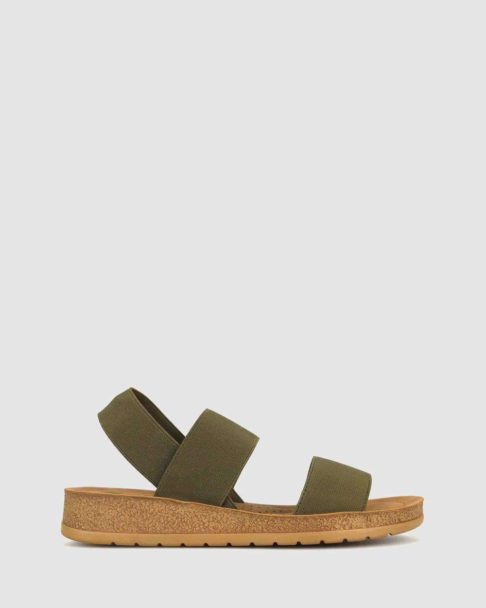 Zeroe Rise Elastic Low Wedge Sandals Khaki
