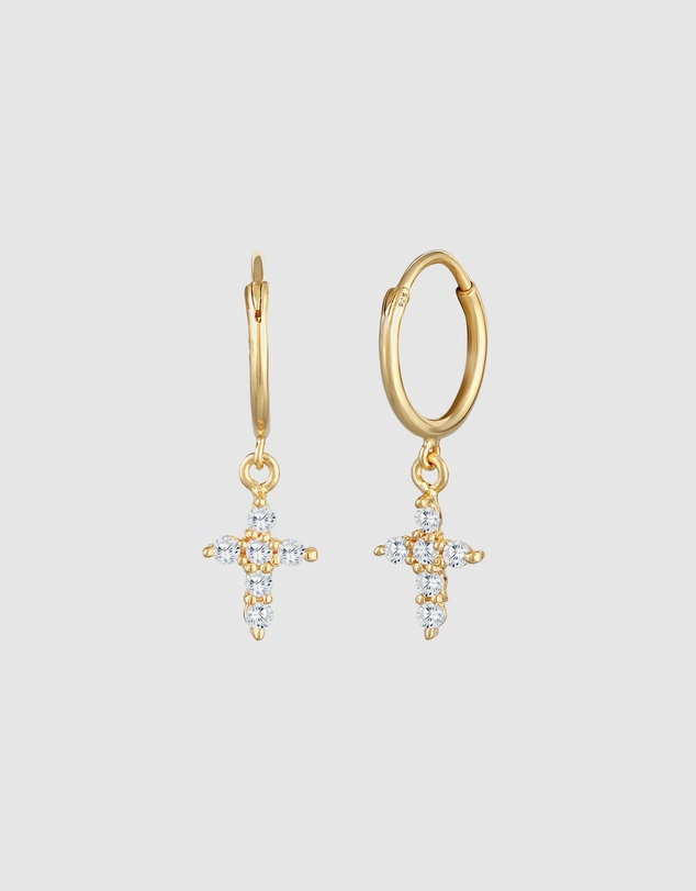 Women Earrings Creoles Cross Faith with Zirconia Crystals in 925 Sterling Silver gold plated