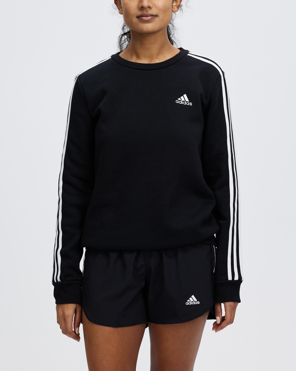 adidas Performance Essentials 3 Stripes Fleece Sweatshirt Jumpers & Cardigans Black White 3-Stripes