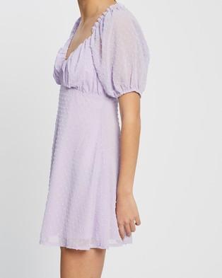 Missguided Dobby Milkmaid Skater Dress - Dresses (Lilac)