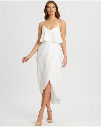 Chancery Iris Pleated Dress White